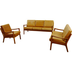 Cado seatgroup in teak and leather, Ole WANSCHER - 1960s
