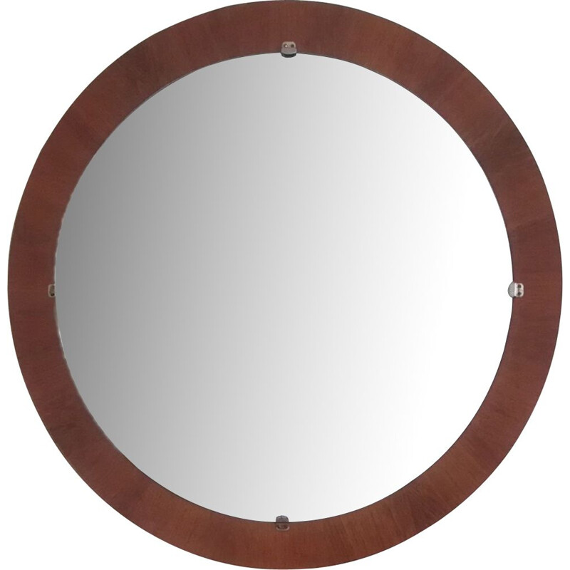 Vintage round mirror in teak wood ,origin Denmark 1960