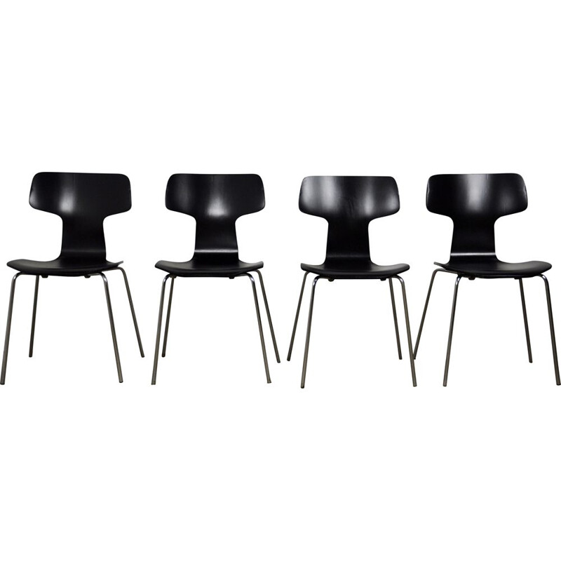 Set of 4 vintage model 3103 Hammer chair by Arne Jacobsen for Fritz Hansen, 1960
