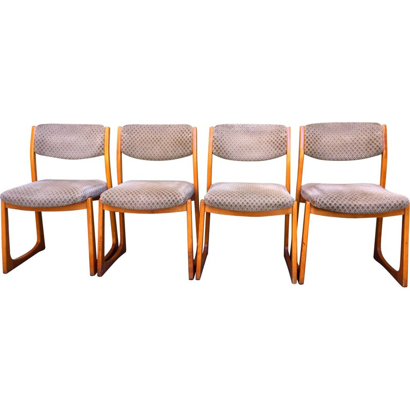 Set of 4 vintage sled chairs by Self, 1960