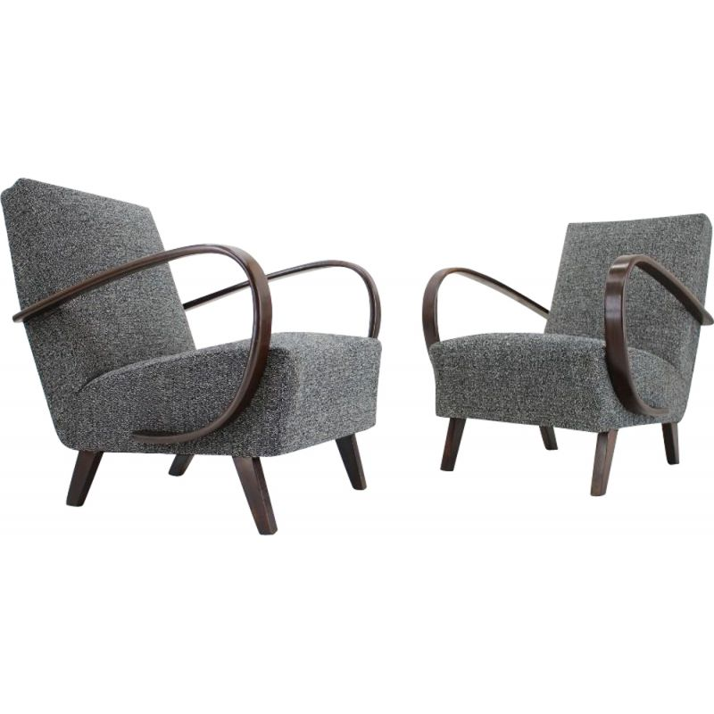 Pair of vintage armchairs by Jindrich Halabala, 1930s