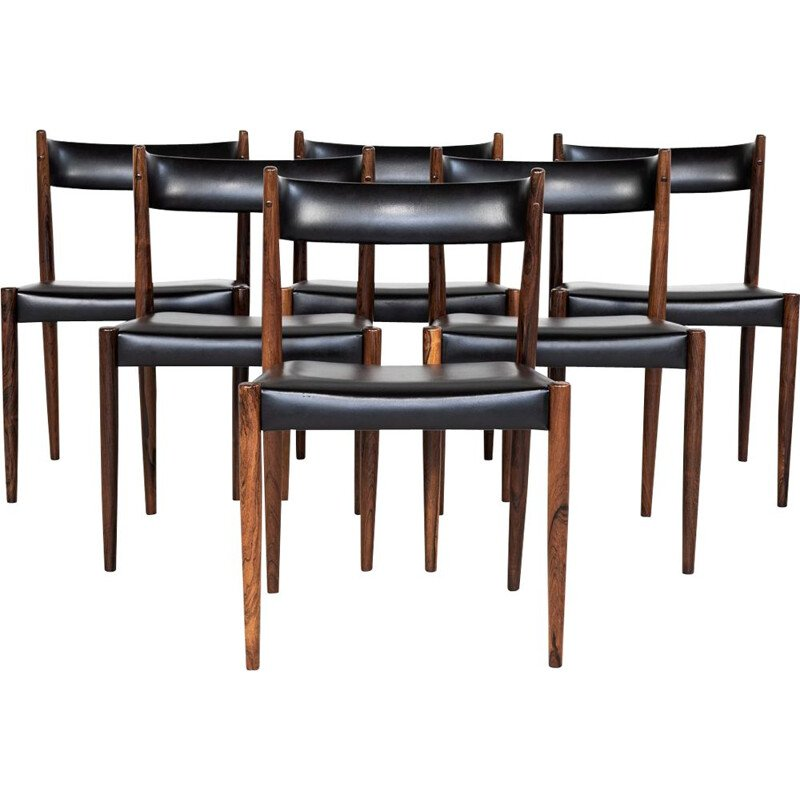 Set of  6 danish chairs in rosewood and black skai, 1960s