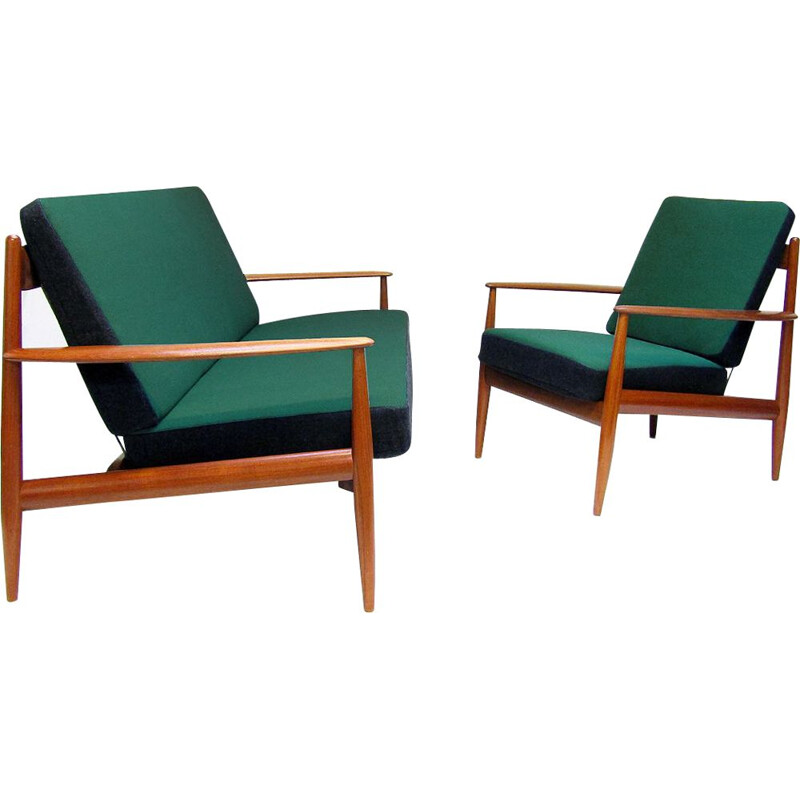 Danish vintage sofa and chair by Grete Jalk, model FD-118, 1950s
