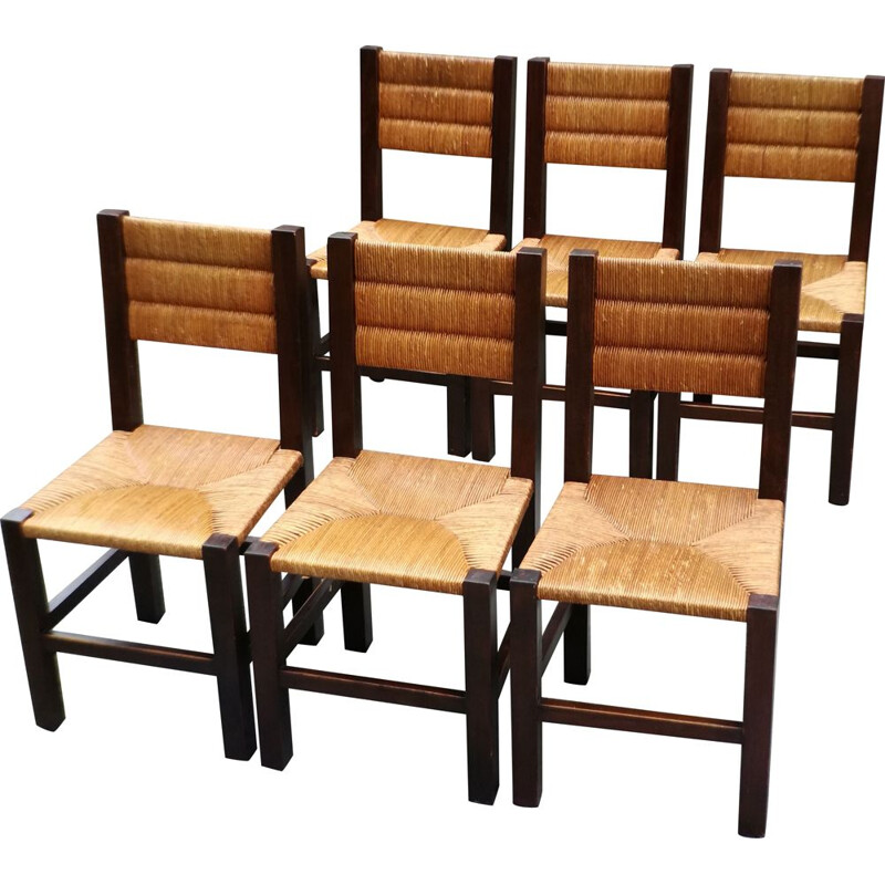 Set of 6 vintage wooden chairs, France, 1960s