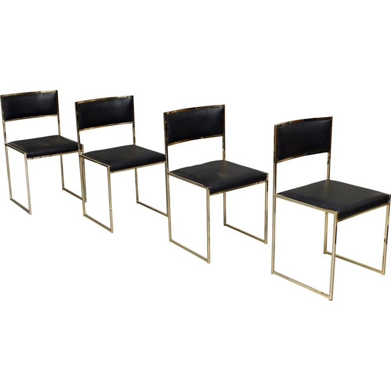 Set of 4 vintage dining chairs by Willy Rizzo, Italy, 1970s