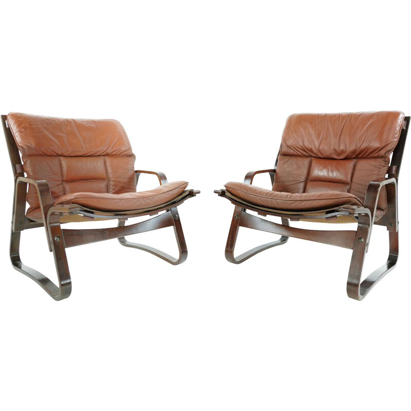 Pair of rosewood & leather vintage armchairs, 1970s
