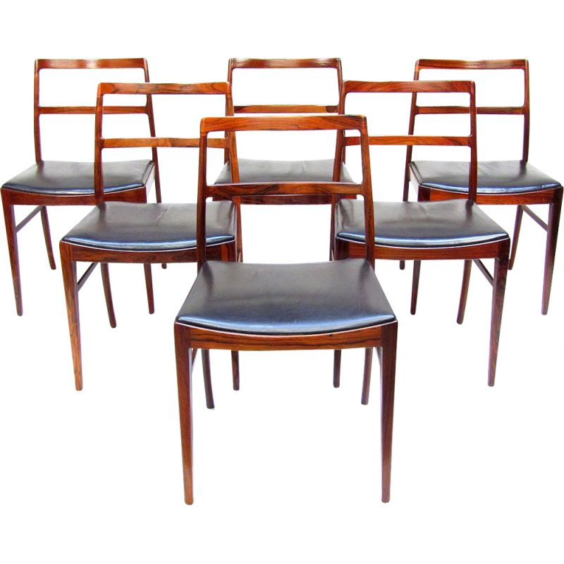 Set of 6 danish dining chairs in rosewood by Arne Vodder for Sibast, 1960s