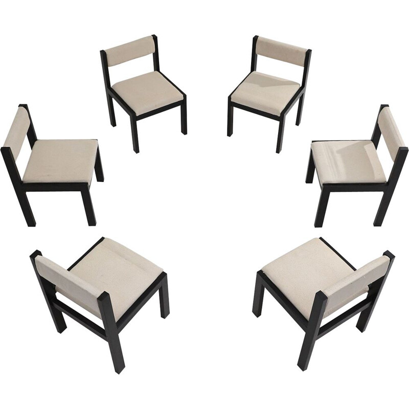 Set of 6 vintage wooden chairs, 1970s