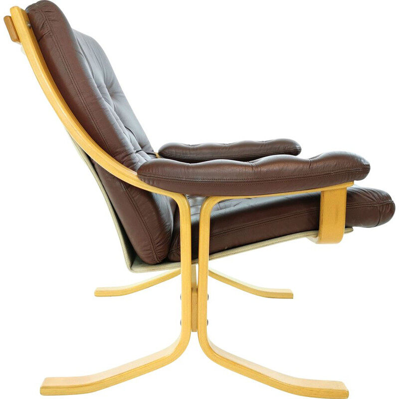 Leather vintage armchair by Ekornes, 1970s