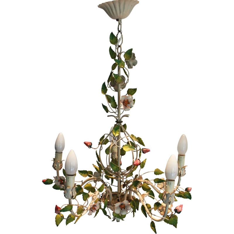 Vintage vegetable chandelier in painted metal, 1960s