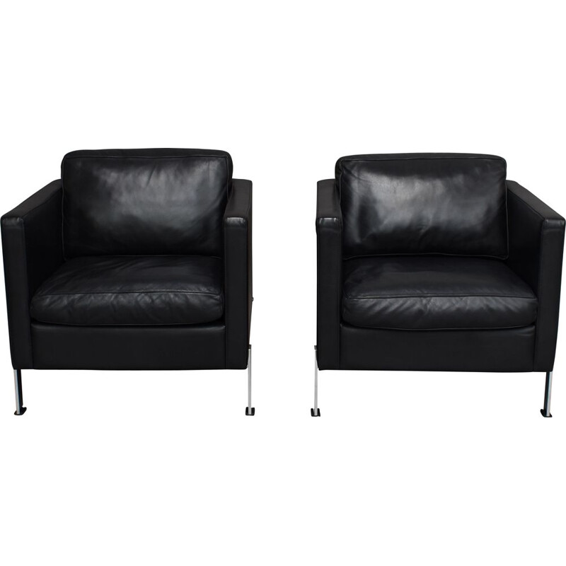 Pair of vintage armchairs in black leather by De Sede, 1970s
