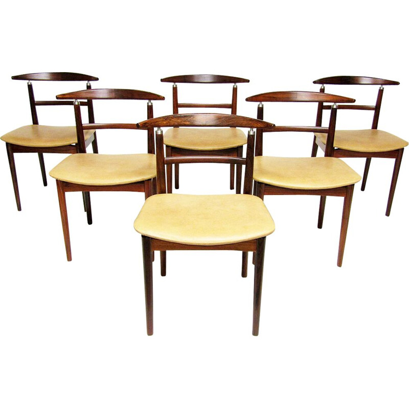 Set of 6 danish vintage dining chairs in rosewood by Helge Sibast and Børge Rammeskov, 1960s