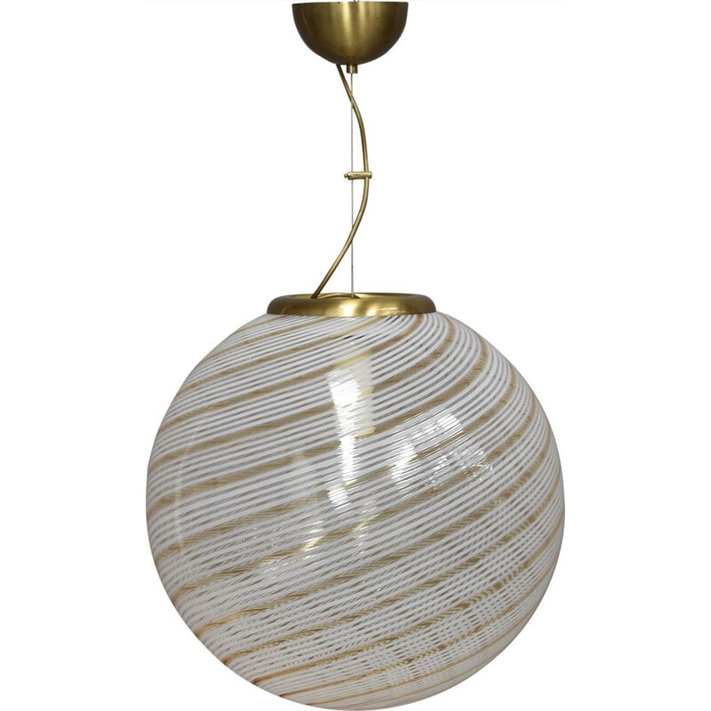 Vintage Hanging Lamp in Murano Glass by Venini, Italy, 1970