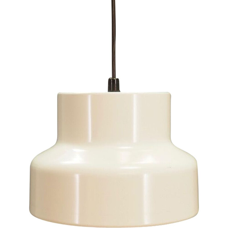 Vintage Danish hanging lamp in white metal, 1960s