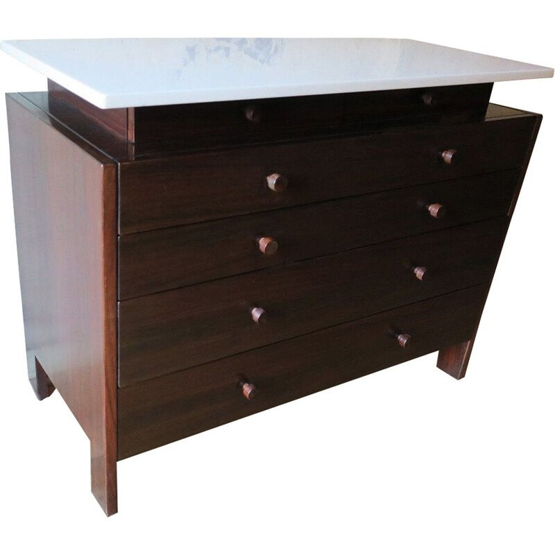 Vintage Italian Chest of Drawers in Marble and Rosewood, 1960s