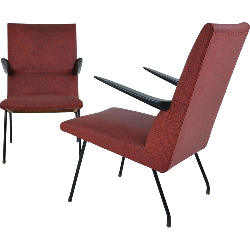 Pair of vintage armchairs by Pierre Guariche Edition Meurop, 1950