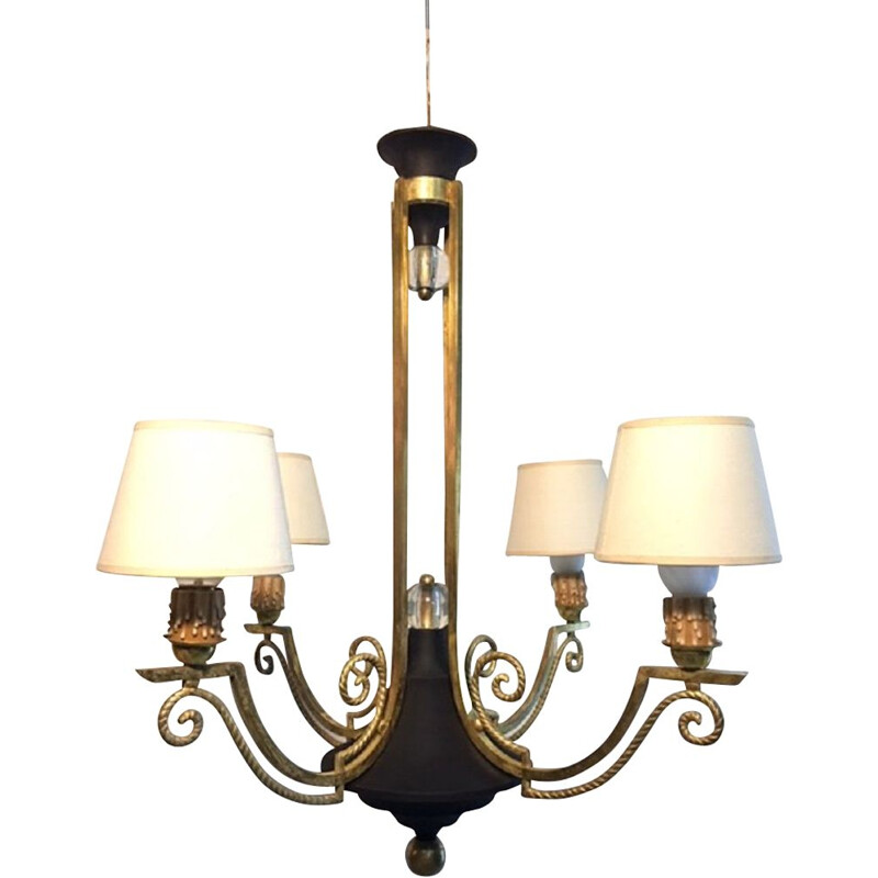Vintage chandelier Tole in glass and gilded brass, 1950
