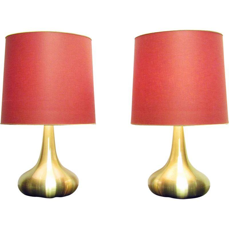 """Pair of vintage """"Orient"""" Table Lamps By Jo Hammerborg, 1970"""