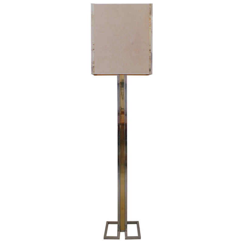 Vintage floor lamp in brass, paper and stainless, Willy RIZZO - 1970s
