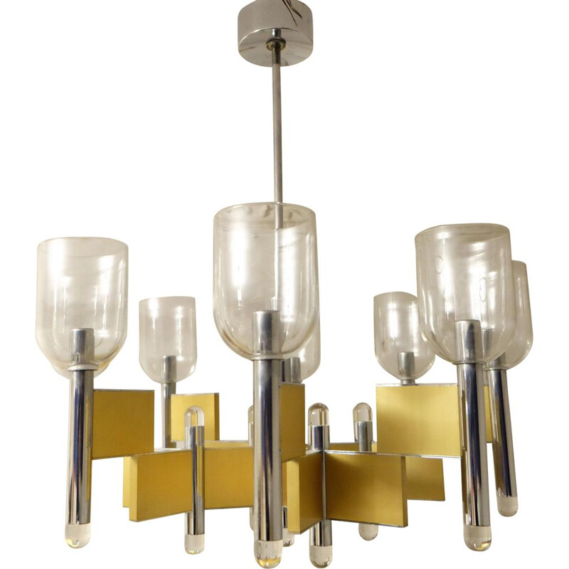Vintage chandelier with Geometric 8-Light by Gaetano Sciolari