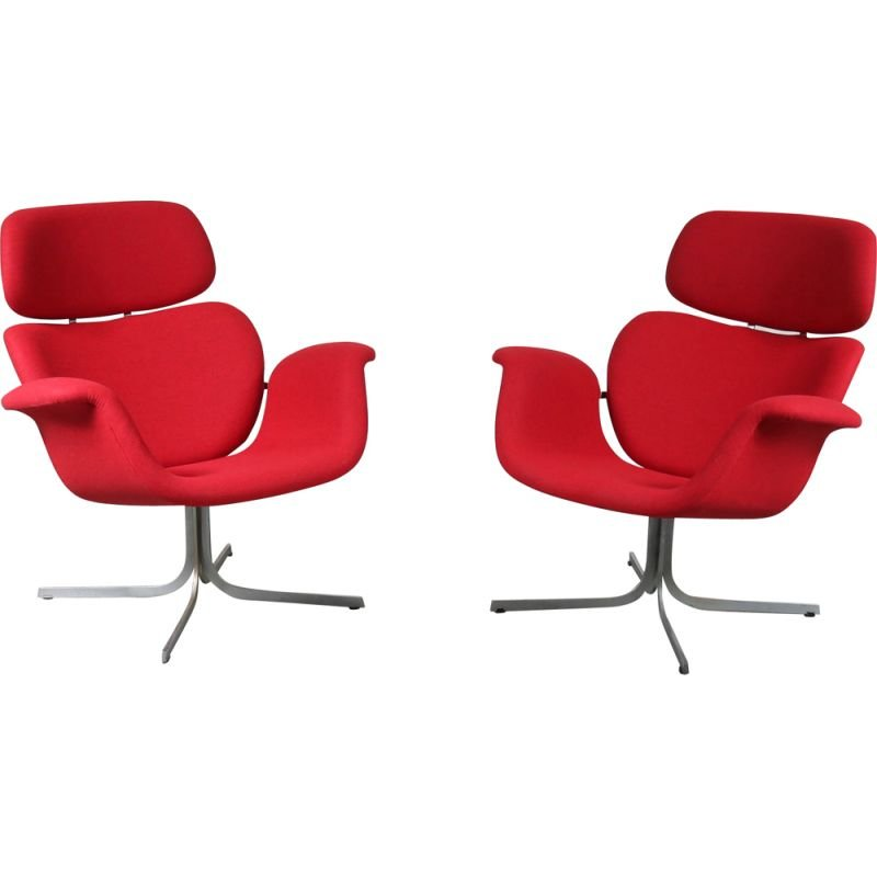Vintage pair of  Big Tulip Lounge Chairs by Pierre Paulin for Artifort, 1950