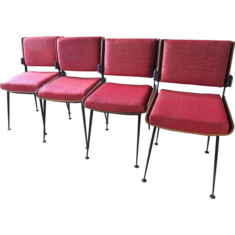 Set of 4 vintage red chairs, France, 1965