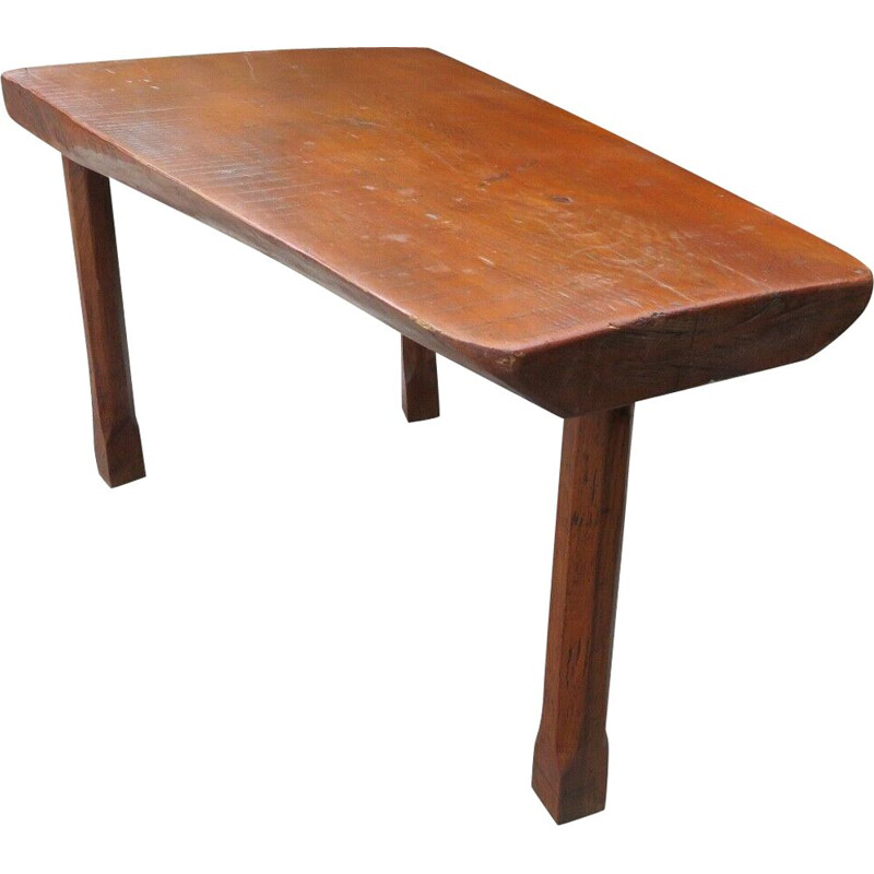 Vintage tripod coffee table in solid oak, 1960s