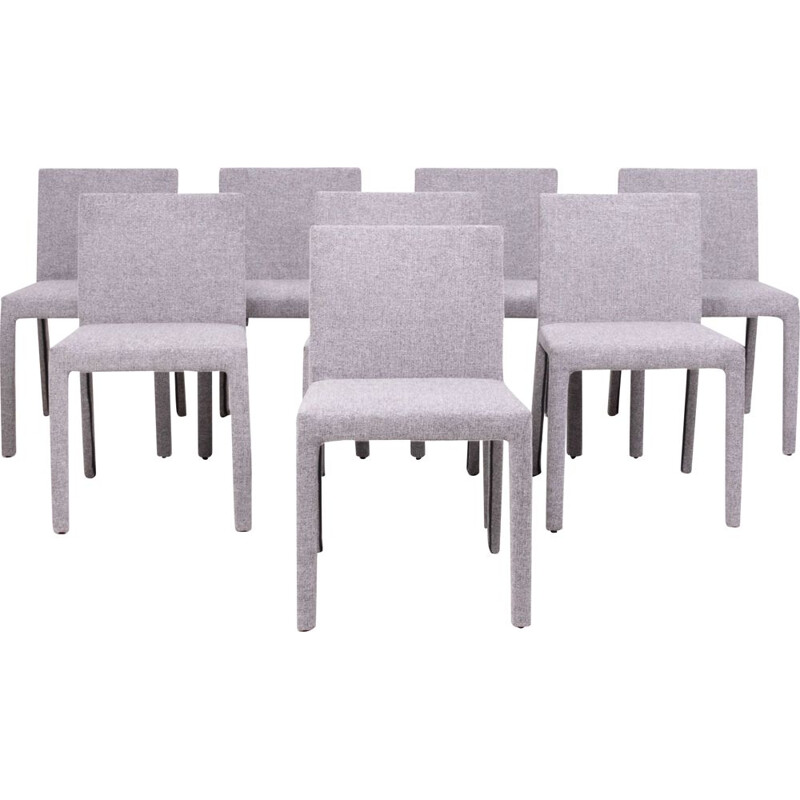 "Set of 8 vintage ""Fly Tre"" grey fabric chairs by Carlo Colombo for Poliform"