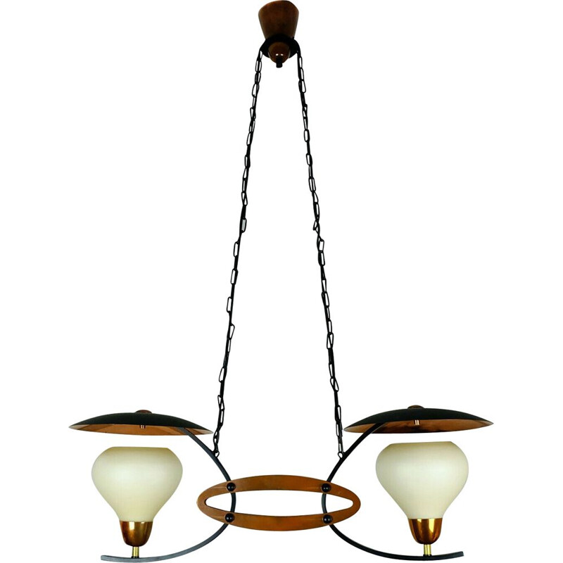 Vintage copper and metal chandelier, 1950-60s