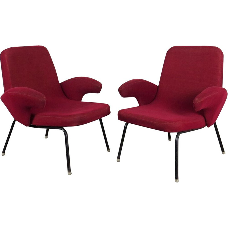 Set of 2 vintage red armchairs, Czechoslovakia