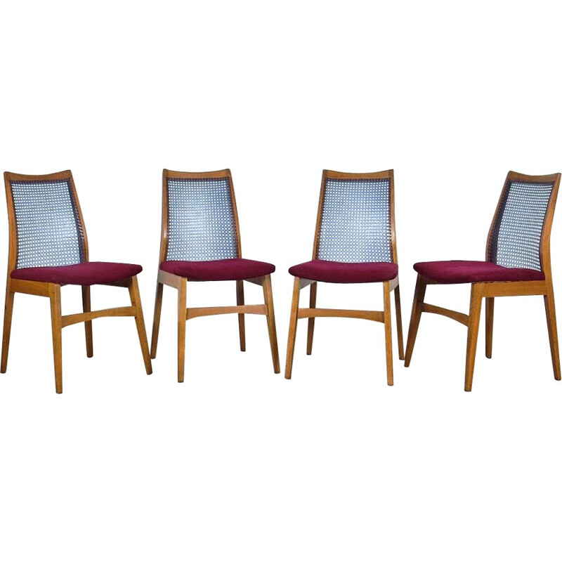 Set of 4 vintage pink and blue armchairs in wood, Czechoslovakia, 1960s