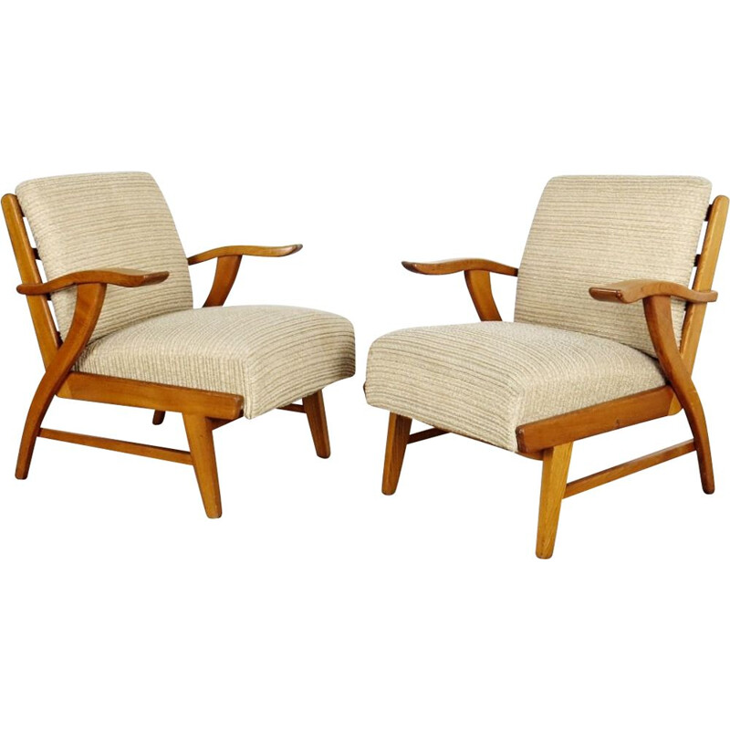 Set of 2 vintage wooden armchairs, Czechoslovakia