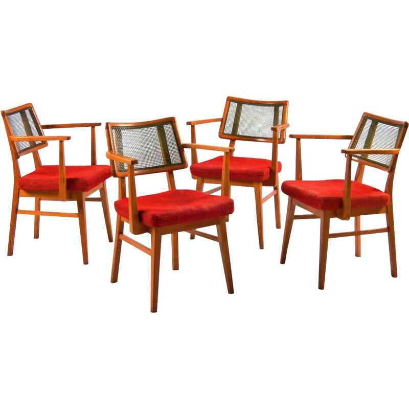 Set of 4 vintage dining chairs, Czechoslovakia, 1960s