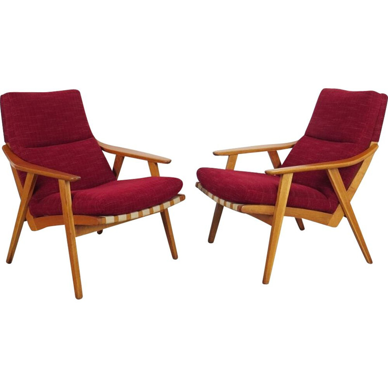 Set of 2 vintage red armchairs, Czechoslovakia, 1960