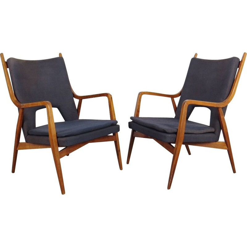 Set of 2 navy blue-grey armchairs, Czechoslovakia, 1960s