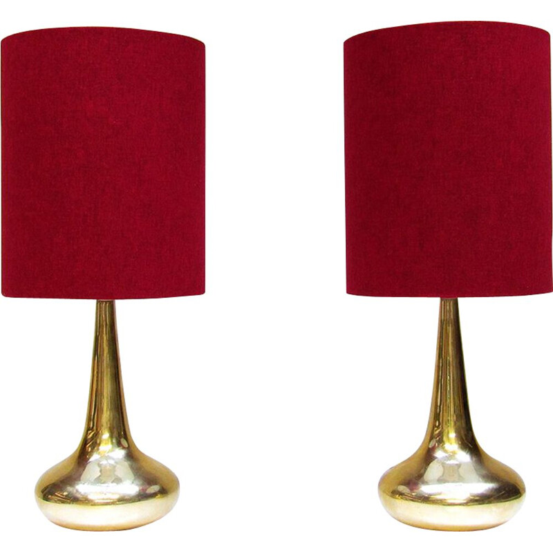 "Set of 2 vintage gold ""Orient"" table lamps By Jo Hammerborg for Fog & Morup, 1975"