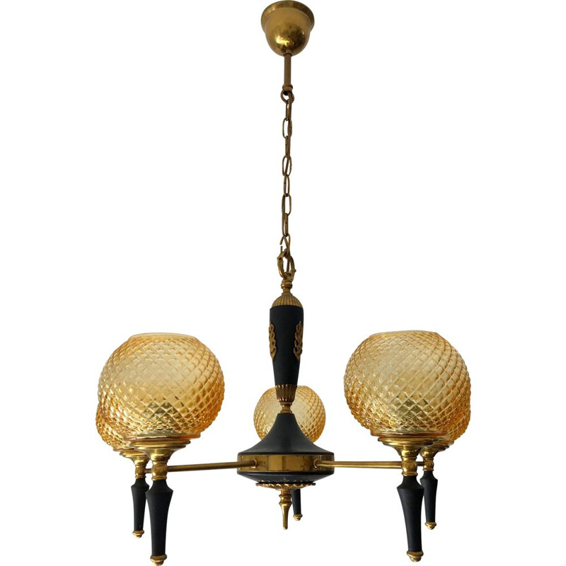 Vintage chandelier in brass, metal and steel, 1960s