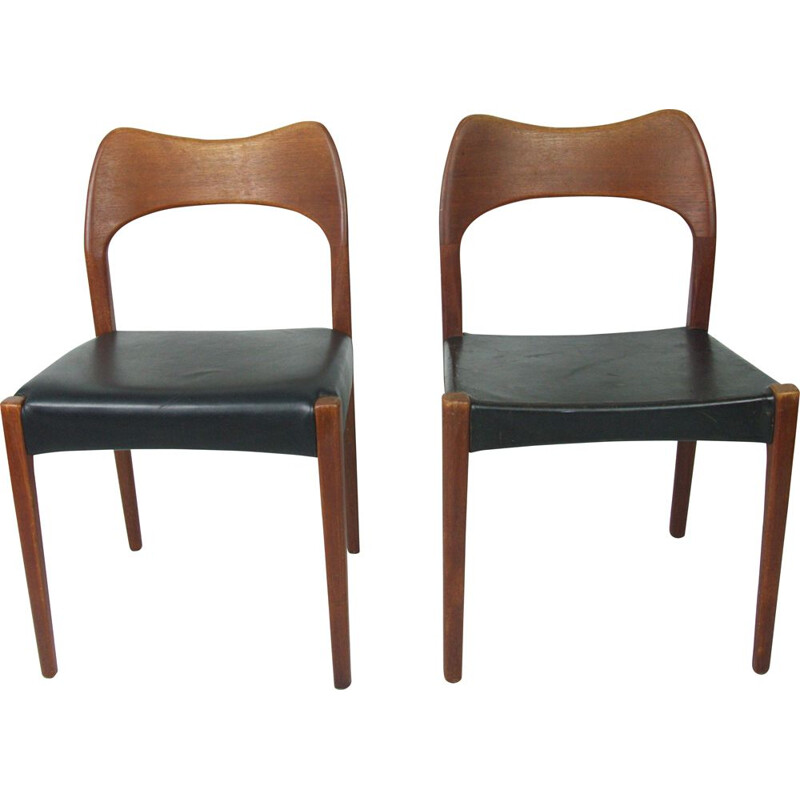 Set of 2 vintage teak chairs by Arne Hovmand Olsen for Mogens Kold, 1960