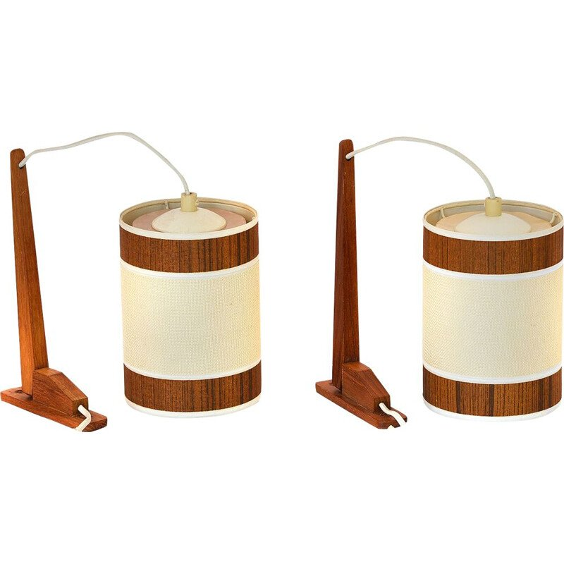 Set of 2 vintage teak wall lights, Sweden, 1960s