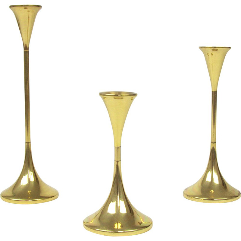 Set of 3 vintage brass candleholders by Freddie Andersen, 1970s