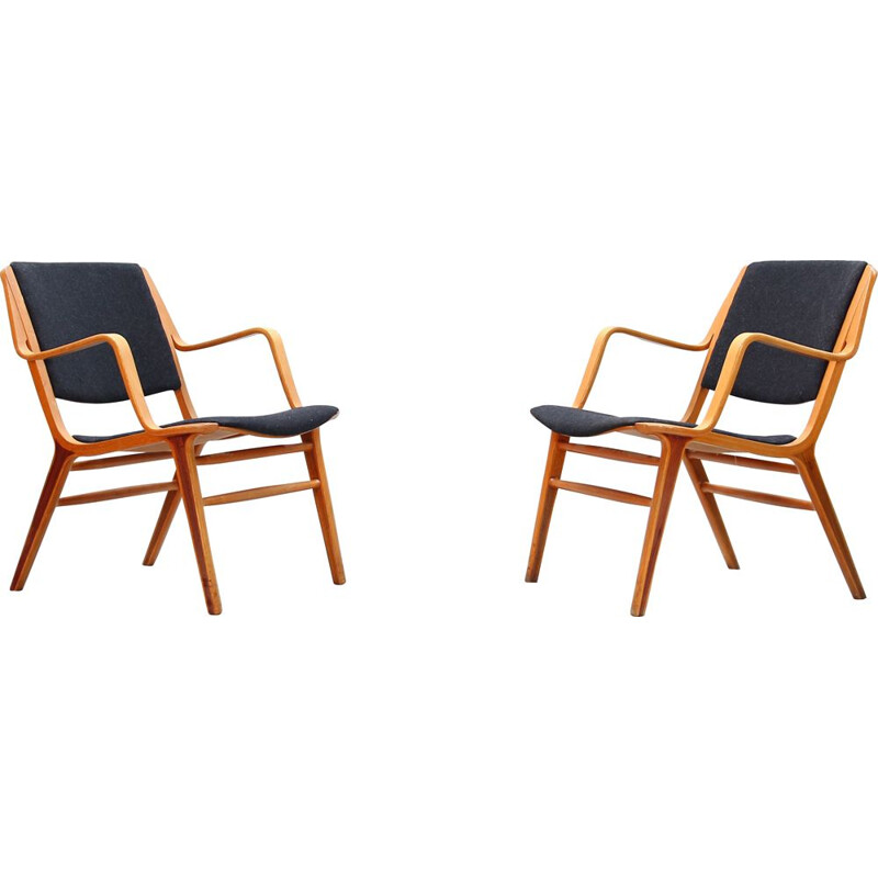 Set of 2 vintage armchairs by Peter Hvidt & Orla Mølgaard for Fritz Hansen, Denmark, 1960s
