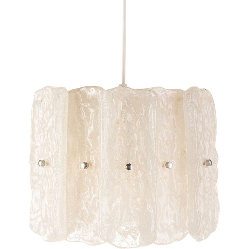 Vintage chandelier with frosted acrylic glass by Aro Leuchten, 1960s