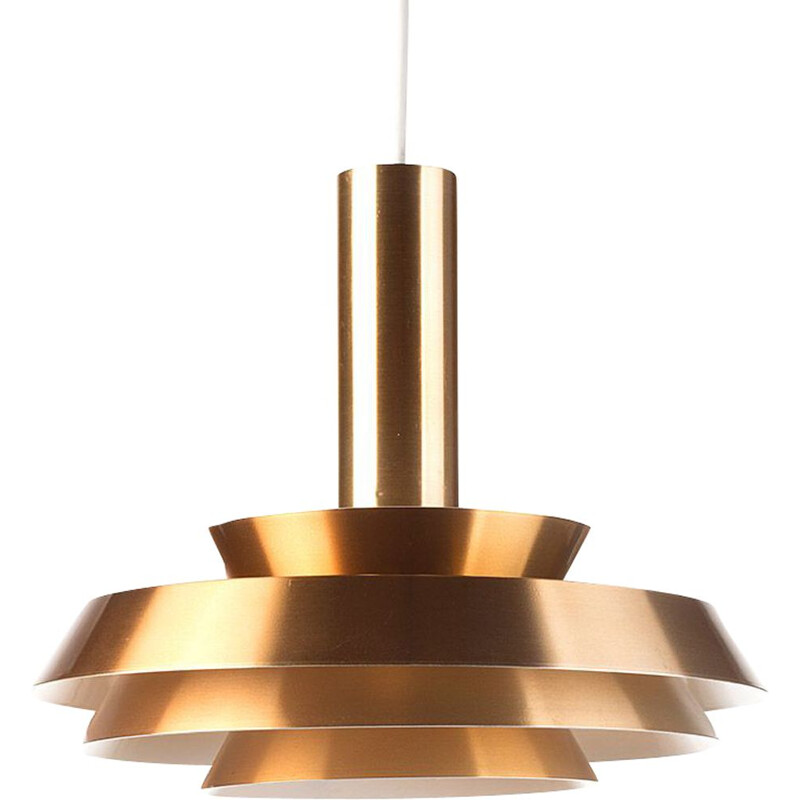 Vintage copper colored pendant light by Lyskaer Belysning, Denmark, 1960s