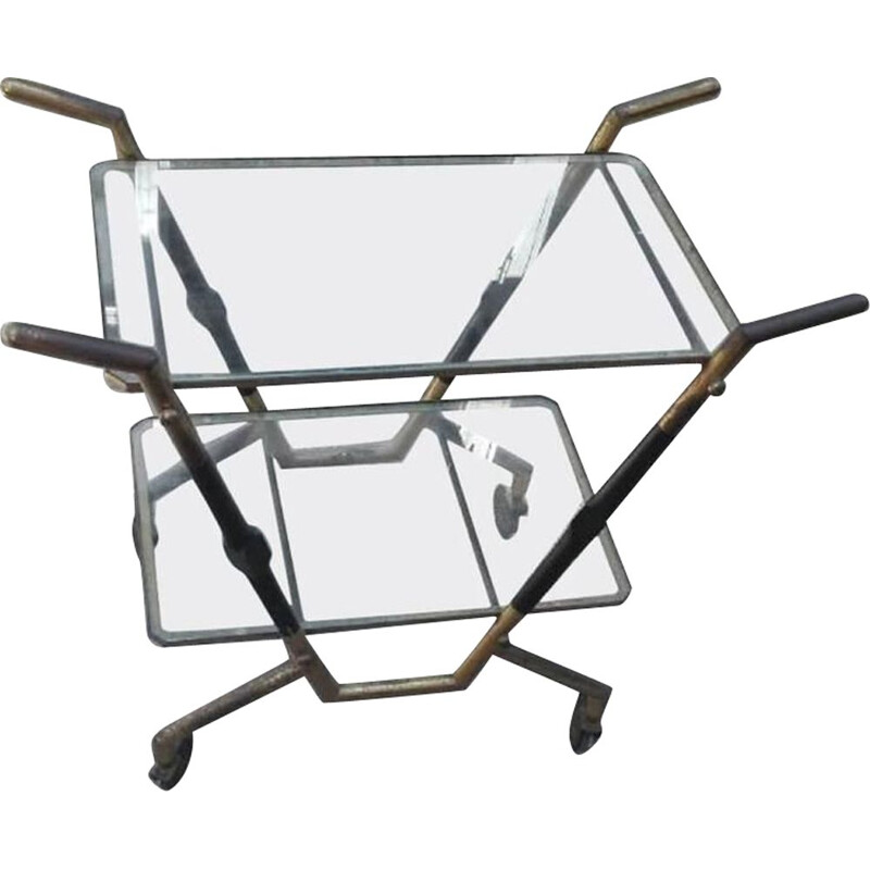 Vintage trolley in brass with glass shelves, 1950s