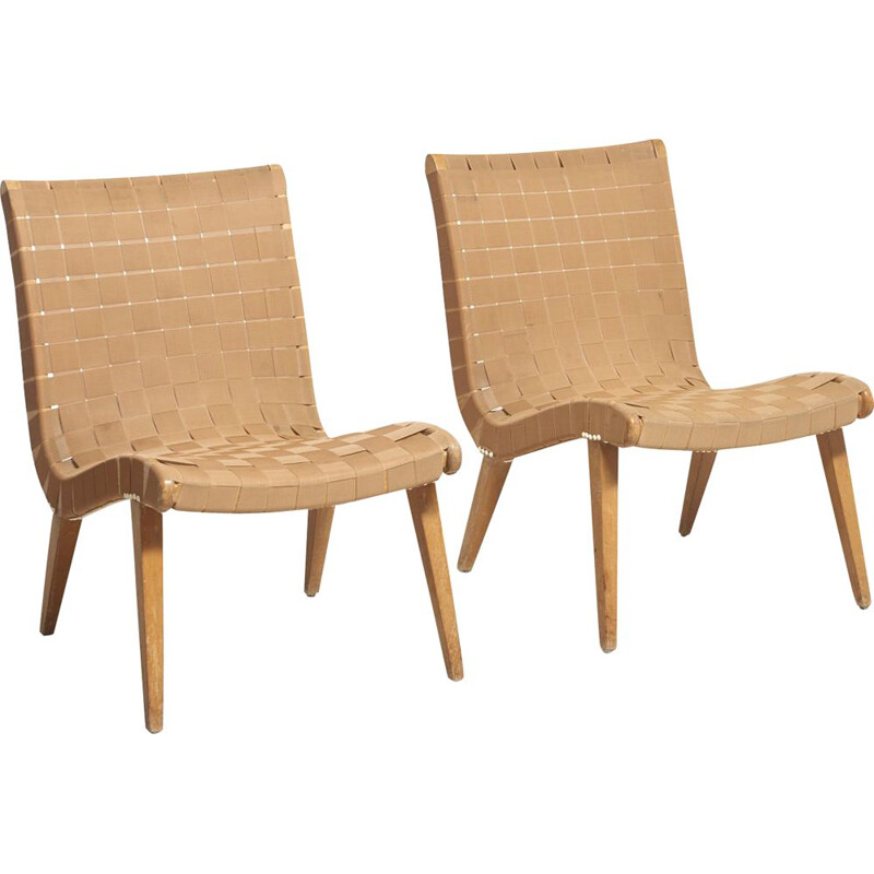 Vintage pair of lounge chairs by Jens Risom, 1940s