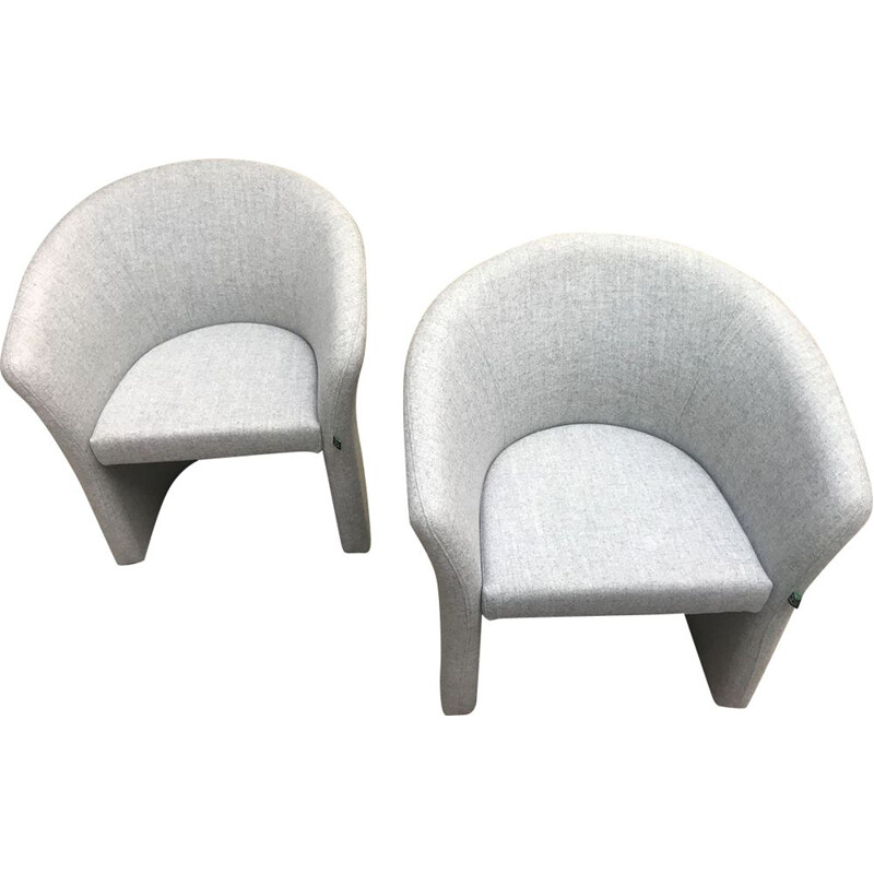 Pair of vintage light grey low chairs, Harmony edition, 2010