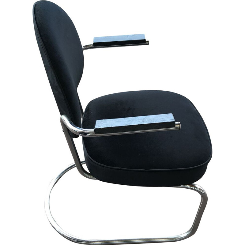 Vintage black armchair by Fritz August, 1930s