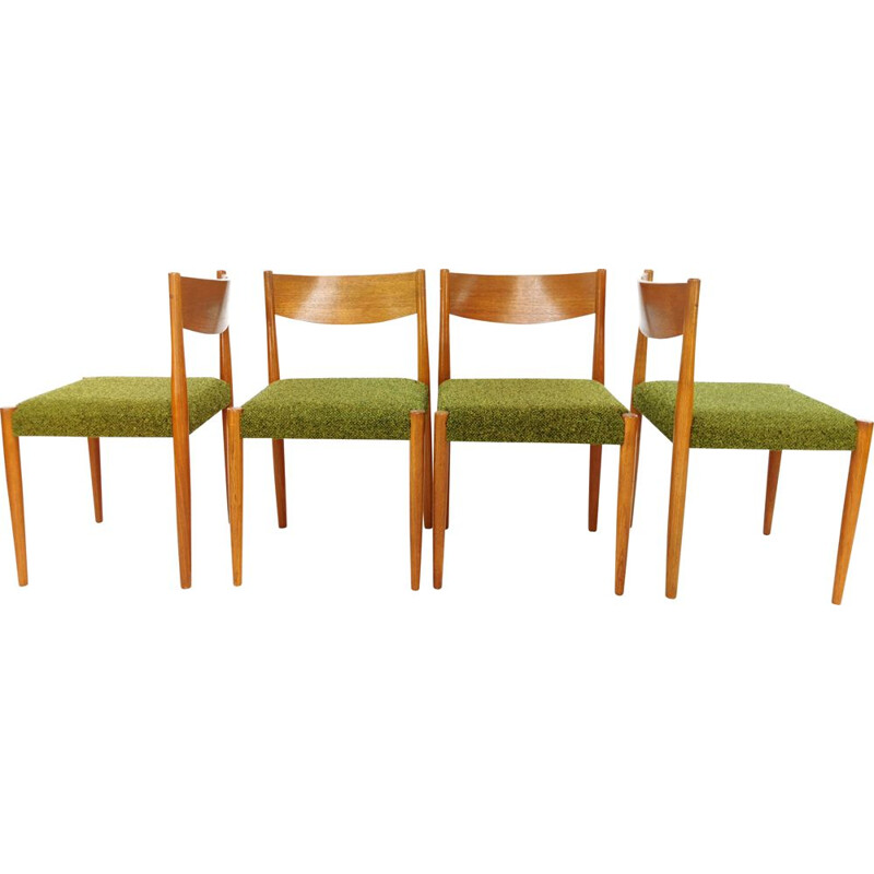 Vintage set of 4 Poul M Volther dining chairs by Frem Rojle, 1960s