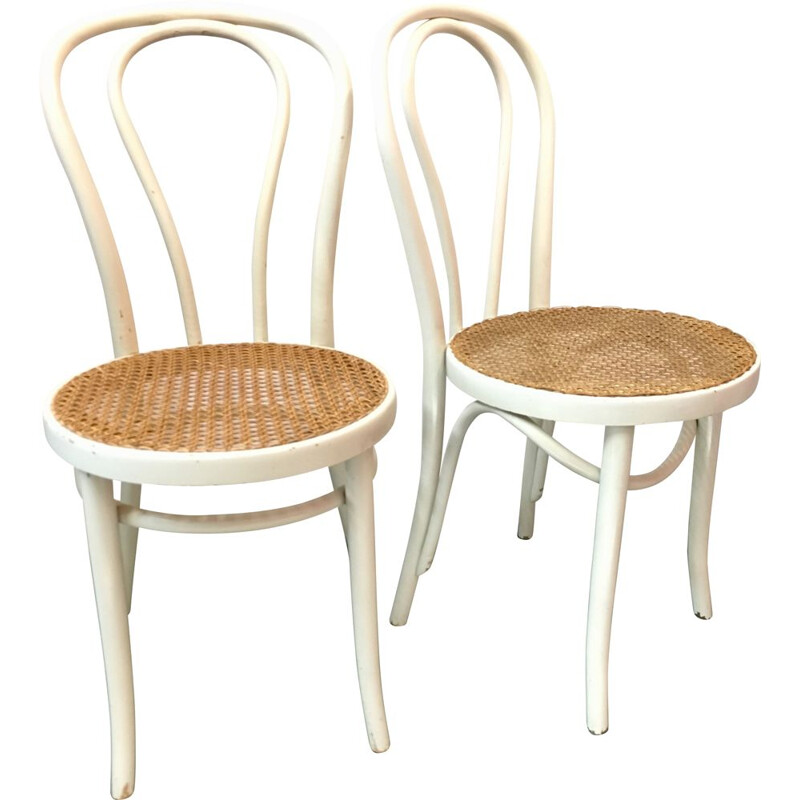 Pair of white vintage bistro chairs