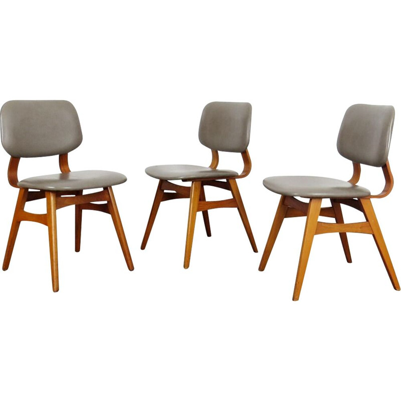 Set of 3 vintage dining chairs, Czechoslovakia